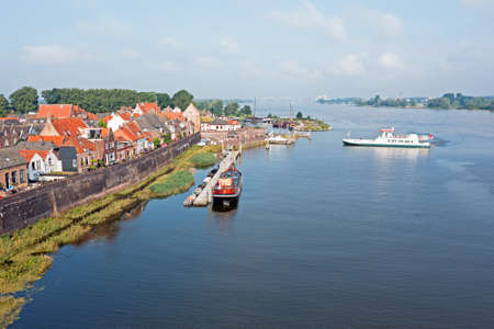 Aerial from the harbor and city Woudrichem at the river Merwede in the Netherlands