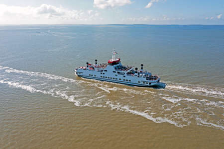 Aerial from the ferry to Ameland on the Wadden Sea in the Netherlands