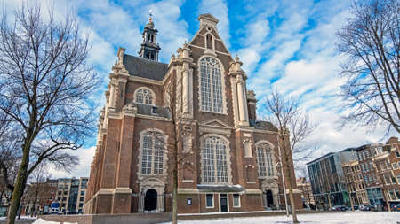 The Wester church on a beautiful winter day in Amsterdam the Netherlands