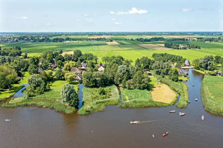 Aerial from the famous village Giethoorn in Overijssel the Netherlands