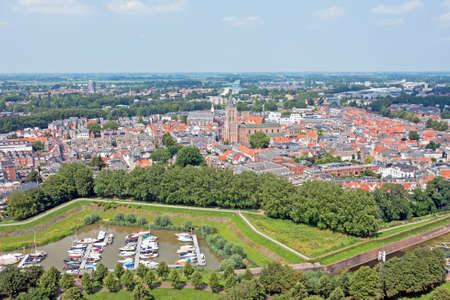 Aerial view from the city Gorinchem in the Netherlands 免版税图像