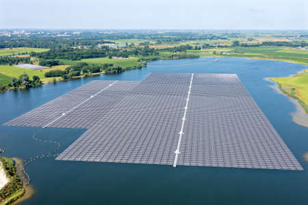Aerial view from solar panels on a lake in the countryside from the Netherlands