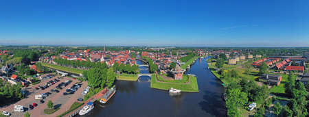 Aerial panorama from the city Dokkum in Friesland the Netherlands