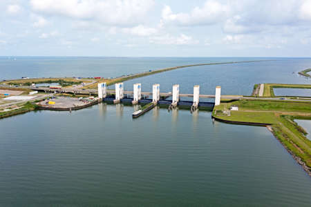 Aerial from Houtrib sluices near Lelystad in the Netherlands