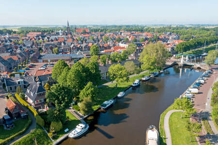 Aerial view on the city Dokkum in the Netherlands 免版税图像