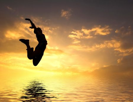 high jump: LOVING THE WORLD. Woman jumping to water