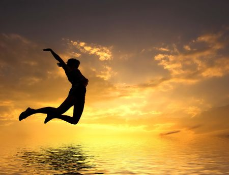LOVING THE WORLD. Woman jumping to water Stock Photo - 1067796