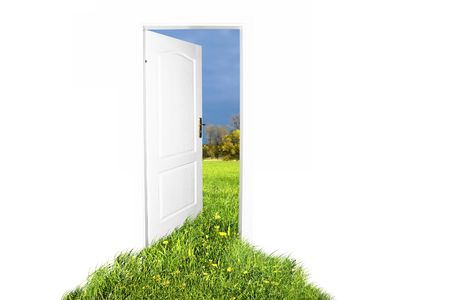 Door to new world. Easy editable image. photo
