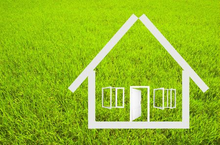 House outline on grass background Stock Photo - 1067811