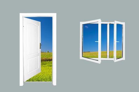 Door to new world.. Just cross doorway.... Behind door exist new beautiful world. Summer meadow version. Easy editable image. Stock Photo - 1067812
