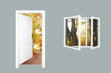 to exist: Door to new world.. Just cross doorway.... Behind door exist new beautiful world. Autumn version. Easy editable image. Stock Photo