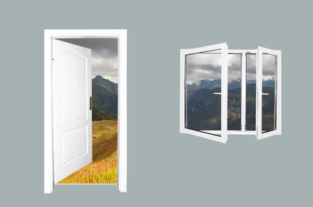 Door to new world.. Just cross doorway.... Behind door exist new beautiful world. Mountains version. Easy editable image. Stock Photo - 1067823