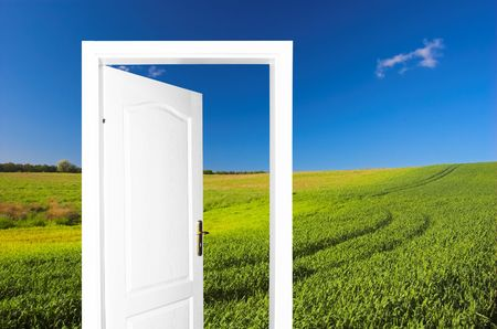 to exist: Door to new world.. Just cross doorway.... Behind door exist new beautiful world. Summer meadow version 2. Easy editable image.