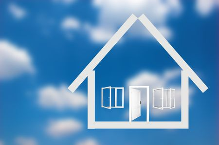 House outline on sky background Stock Photo - 1067816