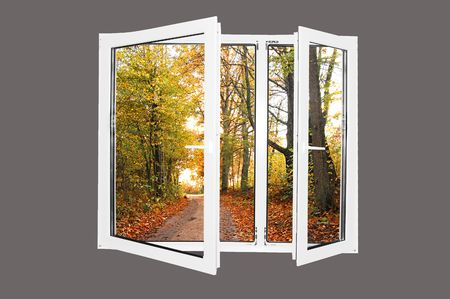 a window on the world: Beautiful world behind the window. Autumn version. Easy editable image. Stock Photo