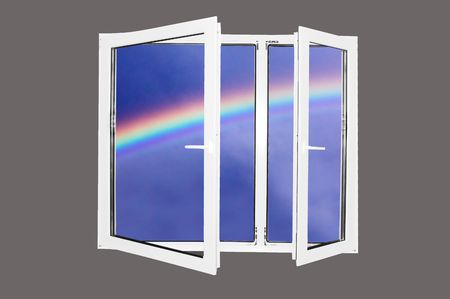 Beautiful world behind the window. Rainbow version. Easy editable image. Stock Photo - 1067836