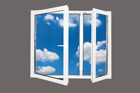 Beautiful world behind the window. Blue sky version. Easy editable image. Stock Photo - 1067837