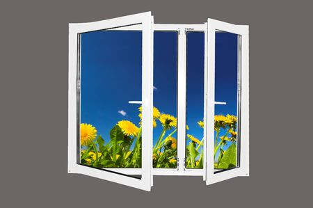 Beautiful spring landscape behind the window. Easy editable image. Stock Photo - 1067838