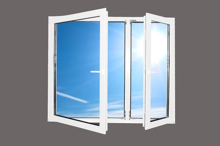 Sunny blue sky behind the window. Easy editable image. Stock Photo - 1067839