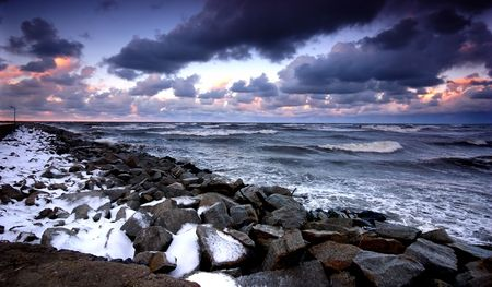 Sunset ocean and winter storm. Stock Photo - 1091930
