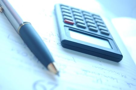 Calculator, fountain pen - office work Stock Photo - 1091953