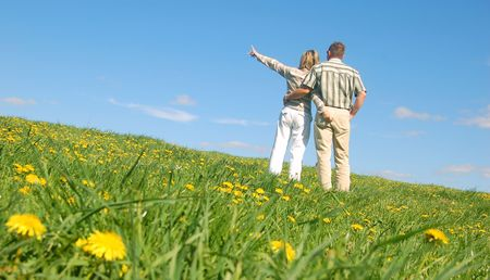 Couple in love on spring meadow Stock Photo - 1105609