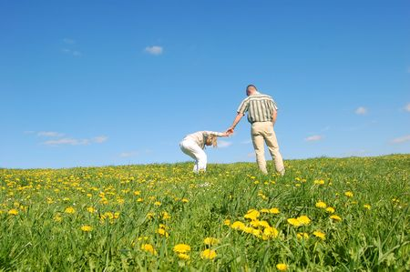 Couple in love having fun on spring meadow Stock Photo - 1105644