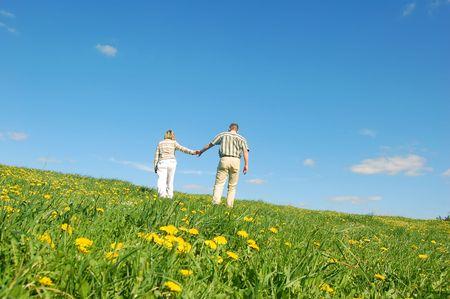 Couple in love having fun on spring meadow Stock Photo - 1105645
