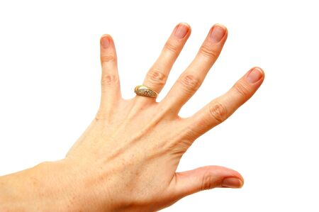 Woman hand with gold ring on white background Stock Photo - 1126113