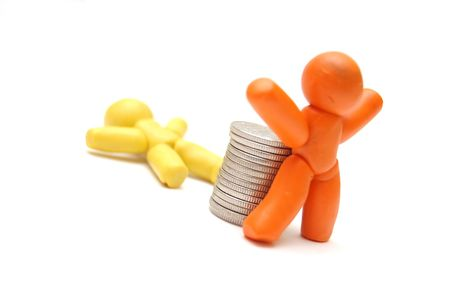 coins pile: 2 plasticine figures, one staying in front of coins pile. Competition in business