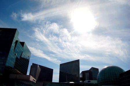 Skyscrapers and sun photo