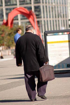 Fat businessman go to work photo
