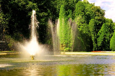 Fountain in park Imagens