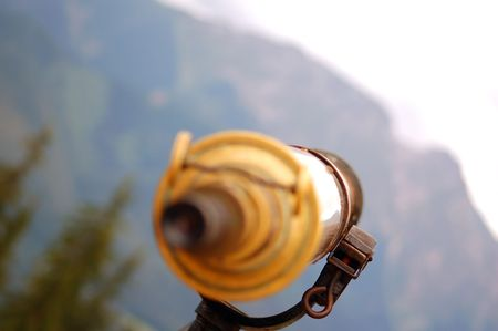 Tatra Mountains observation by telescope (Giewont peak) photo