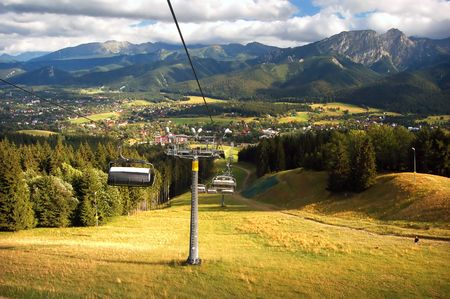 A chair-lift in Tatra Mountains Stock Photo - 1134564