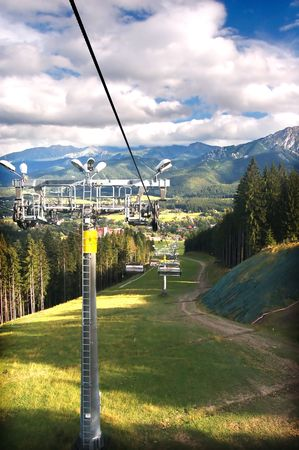 A chair-lift in Tatra Mountains Stock Photo - 1134565