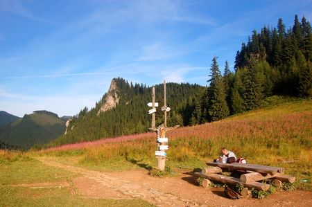 Tatra Mountains landscape and signpost Stock Photo - 1134569