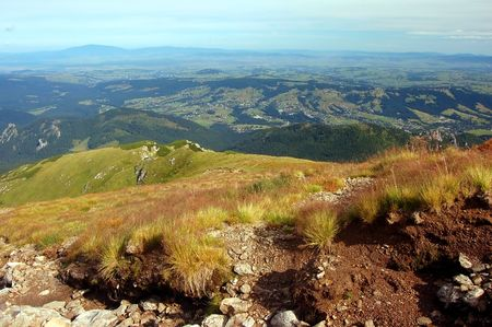 tatry: Tatra Mountains landscape and Zakopane town view