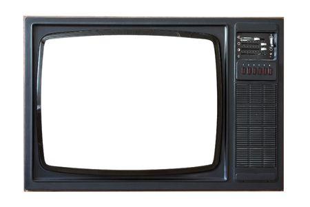 Old retro TV set. 70s style Stock Photo
