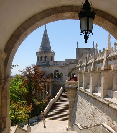fishermens: The great tower of Fishermens Bastion on the castle hill of Budapest Stock Photo