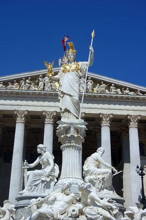 Austrian Parliament Building in Vienna with the Statue of Athena in Front photo