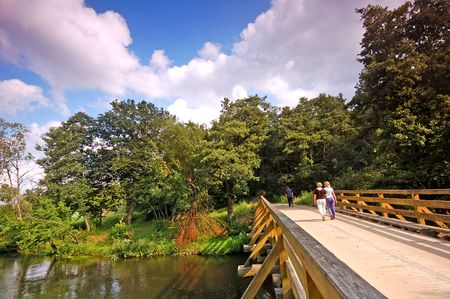 Summer landscape. Bridge in park photo