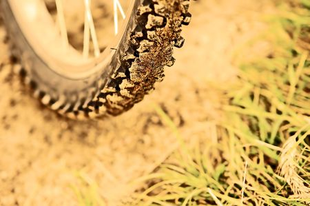 Bike background. Wheel on ground Stock Photo - 2014211
