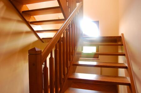 Wooden stairs view in home