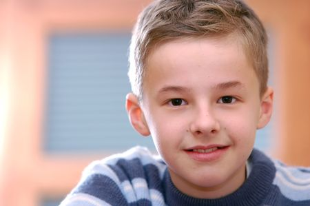 Portrait of young boy thinking Stock Photo