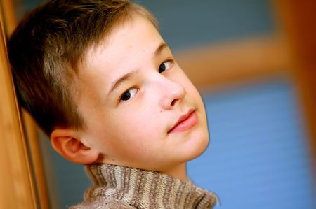 hope indoors luck: Portrait of young, caucasian boy