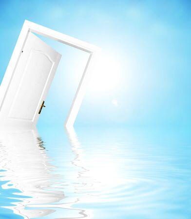 Door to new world. Easy editable image. photo