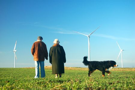 Seniors' couple looking on wind turbines Stock Photo - 3100375
