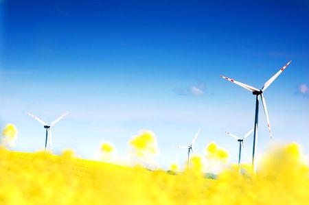 Wind turbines. Energy. Beautiful meadow Stock Photo - 3100306