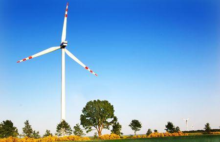 Wind turbines. Energy. Beautiful meadow Stock Photo - 3254014